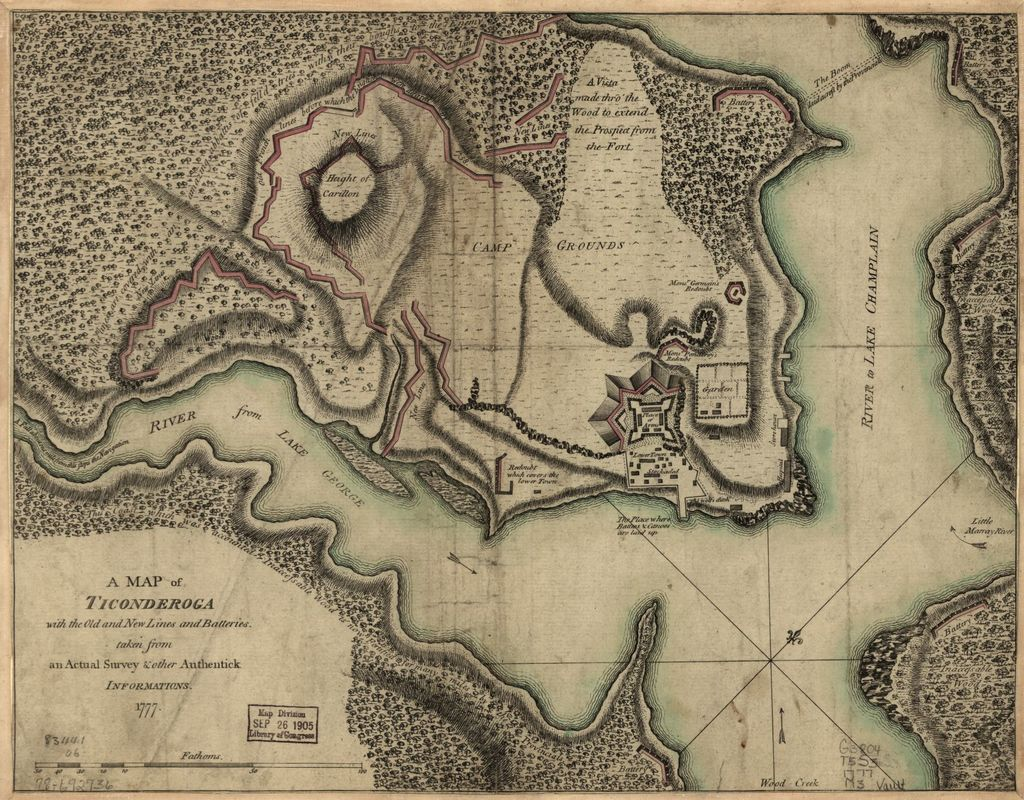 A Map of Ticonderoga with the old and new lines and batteries,