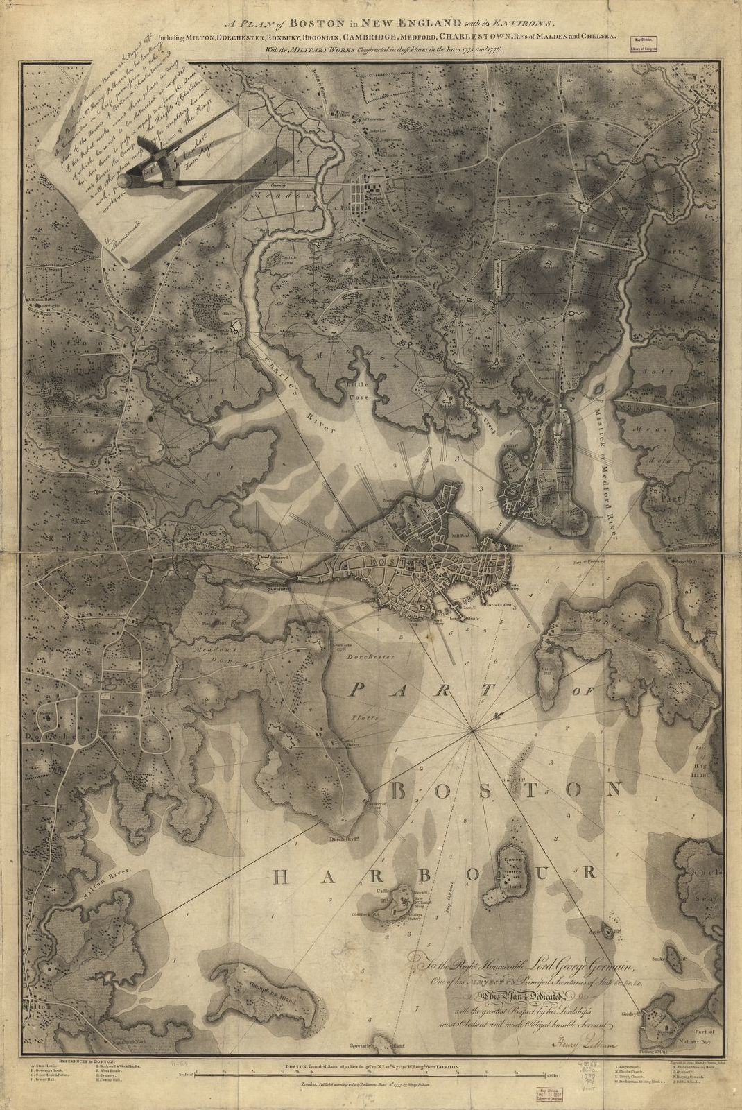 A plan of Boston in New England with its environs, including Milton, Dorchester, Roxbury, Brooklin, Cambridge, Medford, Charlestown, parts of Malden and Chelsea with the military works constructed in those places in the years 1775 and 1776.