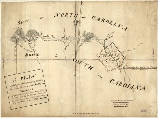 A Plan of that part of the boundary between the states of North and South Carolina, lying between that part of said boundary marked in 1764 and the old Cherokee boundary line. Fixed and marked by commissioners appointed by each respective colony, now states, in June A.D. 1772.