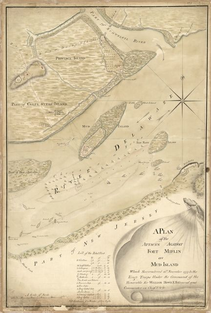 A plan of the attacks against Fort Miflin on Mud Island which surrendered 16th, November 1777 to the Kings troops under the command of the honorable Sir William Howe K.B. general and commander in chief &c., &c.
