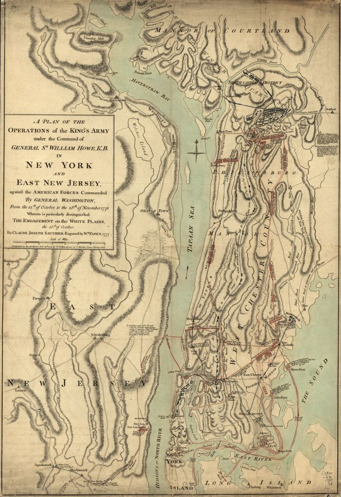 A plan of the operations of the King's army under the command of General Sr. William Howe, K.B. in New York and east New Jersey against the American forces commanded by General Washington from the 12th. of October, to the 28th. of November 1776, wherein is particularly distinguished the engagement on the White Plains, the 28th. of October.