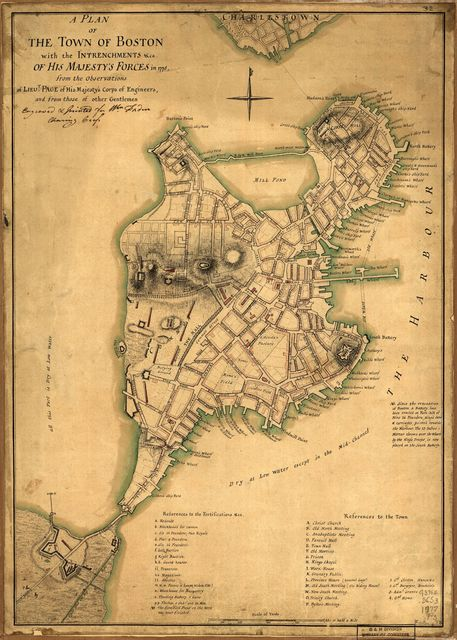 A plan of the town of Boston with the intrenchments &ca. of His Majesty's forces in 1775, from the observations of Lieut. Page of His Majesty's Corps of Engineers, and from those of other gentlemen.