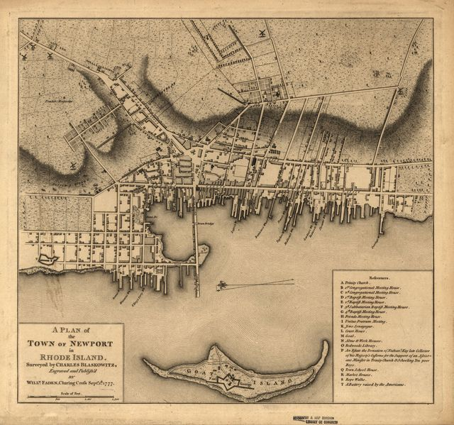 A plan of the town of Newport in Rhode Island.