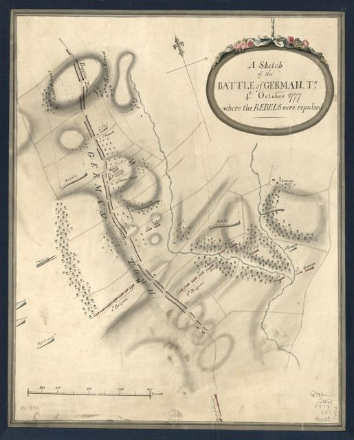 A Sketch of the Battle of German. Tn., 4th. October 1777, where the rebels were repulsed.