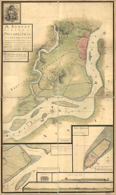 A survey of the city of Philadelphia and its environs shewing the several works constructed by His Majesty's troops, under the command of Sir William Howe, since their possession of that city 26th. September 1777, comprehending likewise the attacks against Fort Mifflin on Mud Island, and until it's reduction, 16th November 1777.