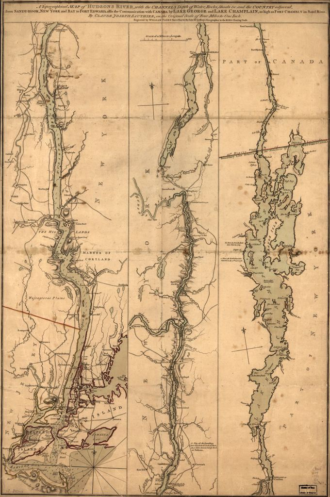 A topographical map of Hudsons River, with the channels depth of water, rocks, shoals &c. and the country adjacent, from Sandy-Hook, New York and bay to Fort Edward, also the communication with Canada by Lake George and Lake Champlain, as high as Fort Chambly on Sorel River. 1776.