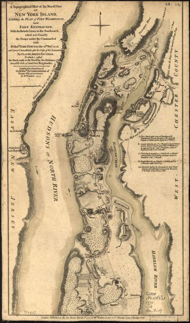 A topographical map of the northn. part of New York Island, exhibiting the plan of Fort Washington, now Fort Knyphausen, with the rebels lines to the southward, which were forced by the troops under the command of the Rt. Honble. Earl Percy, on the 16th Novr. 1776, and survey'd immediately after by order of His Lordship. To which is added the attack made to the northd. by the Hessians.