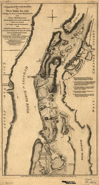A topographical map of the northn. part of New York Island, exhibiting the plan of Fort Washington, now Fort Knyphausen, with the rebels lines to the southward, which were forced by the troops under the command of the Rt. Honble. Earl Percy on the 16th. Novr. 1776, and survey'd immediately after by order of His Lordship,