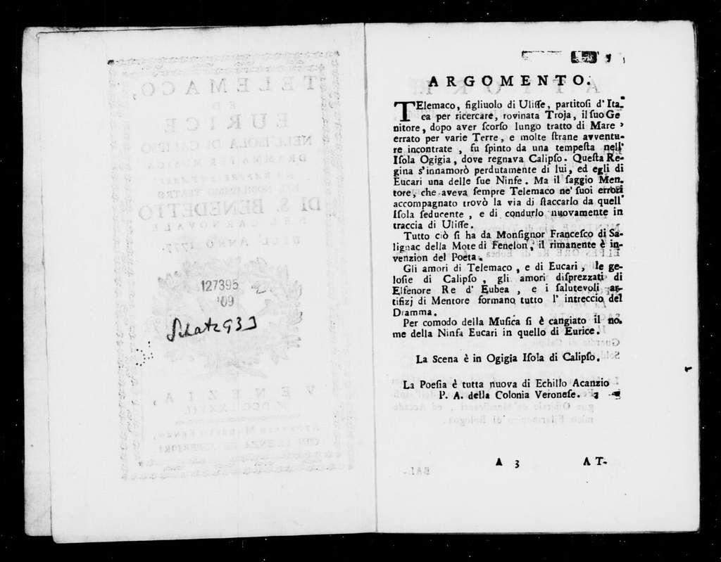Amante generosa (ballo pantomimo). Scenario. Scenario. Italian 1777