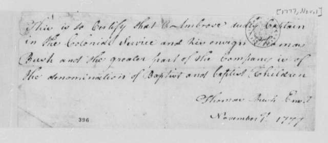 Ambrose Dudley, Thomas Bush, et al, November 1, 1777, Certification of Membership in the Virginia Baptist Church