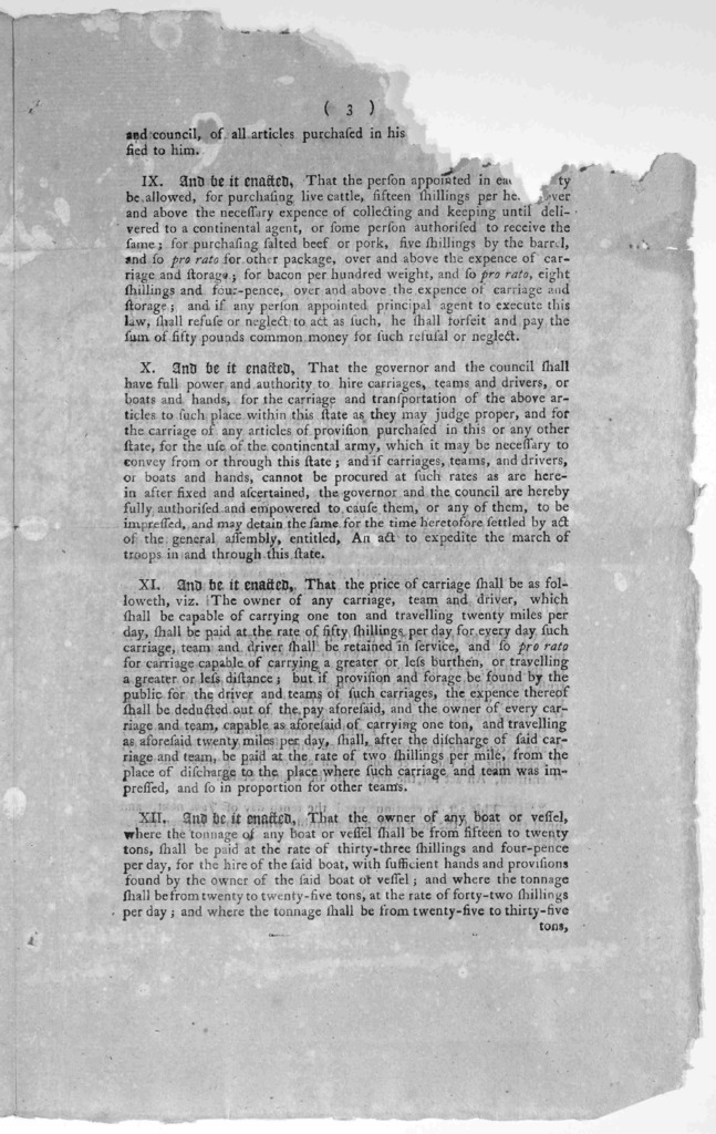 An act for the service of the United States. Whereas it is represented by congress to this state, that they expect there will be a numerous army of continental troops in the field, during the ensuing campaign, and that it will be necessary to pr