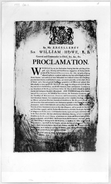 [Arms] By His Excellency Sir William Howe, K. B. General and Commander in Chief, &c. &c. &c. Proclamation [Requiring all persons who are or have been aiding the rebellion in Pennsylvania to take the oath of allegiance before the 25th day of Octo