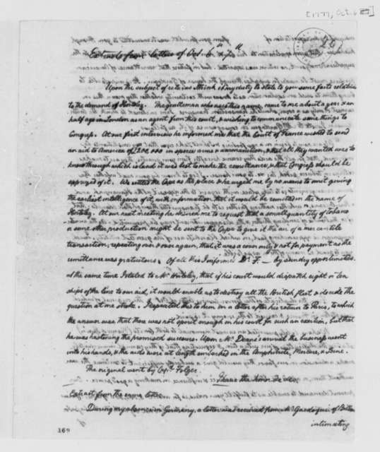 Arthur Lee to Unknown, October 6, 1777, Financial Aid from Europe; Rodrique Hortalez; in Handwriting of William Temple Franklin; Extracts and Copy