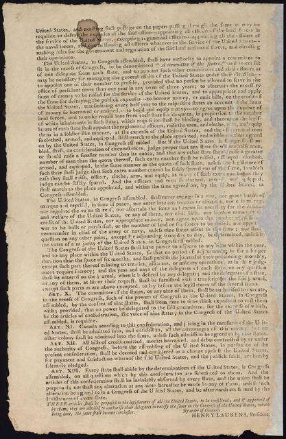 Articles of Confederation and perpetual union between the states of New Hampshire, Massachusetts Bay, Rhode Island, and Providence Plantations, Connecticut, New York, New Jersey, Pennsylvania, Delaware, Maryland, Virginia, North Carolina, South Carolina, and Georgia.