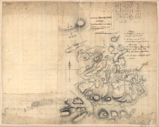 Battle of Brandywine, 11th Septr. 1777, in which the rebels were defeated by the Army under the command of Genl. Sir Willm. Howe.