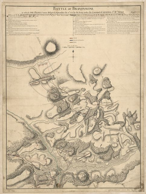 Battle of Brandywine, in which the rebels were defeated, September the 11th 1777, by the army under the command of General Sr. Wam. Howe.