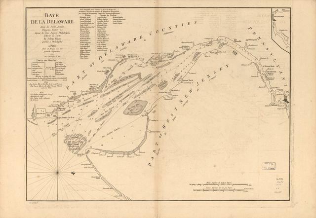 Baye de la Delaware avec les ports, sondes, dangers, bancs, &c. depuis les caps jusqu'à Philadelphie