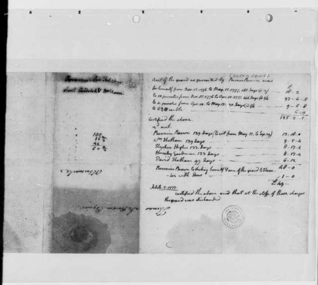 Bernis Brown, October 5, 1777, Account for Guarding British Prisoners