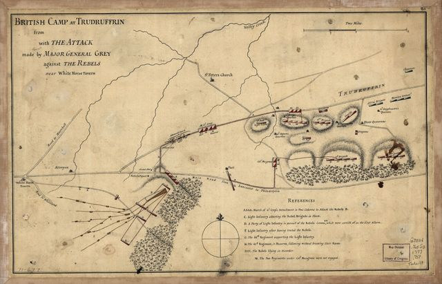 British camp at Trudruffrin from [sic] with the attack made by Major General Grey against the rebels near White Horse Tavern.