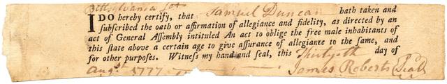 Certificate of oath of allegiance