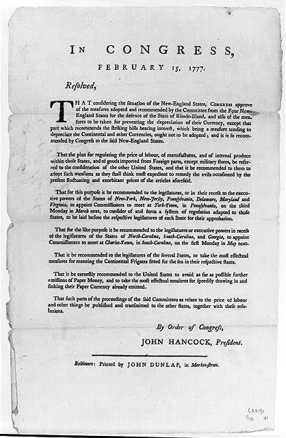 Continental Congress Broadside, 1777 : [Resolve of February 15, endorsing New England Conference Report]