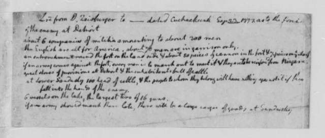 David Zeisburger, September 23, 1777, Intelligence on British at Detroit