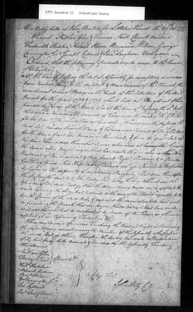 December 10, 1777, Cumberland, Littleton Parish, for advice regarding disposition of levies collected in 1773, 1774 and 1776.