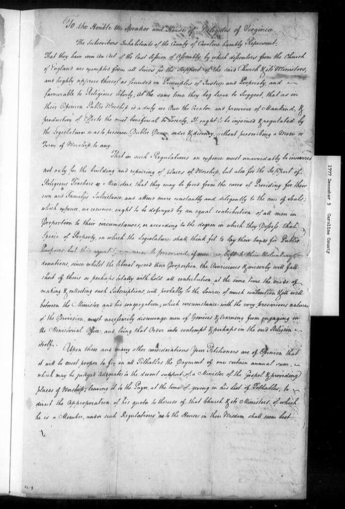 December 5, 1777, Caroline, Favors assessment for support of religion.