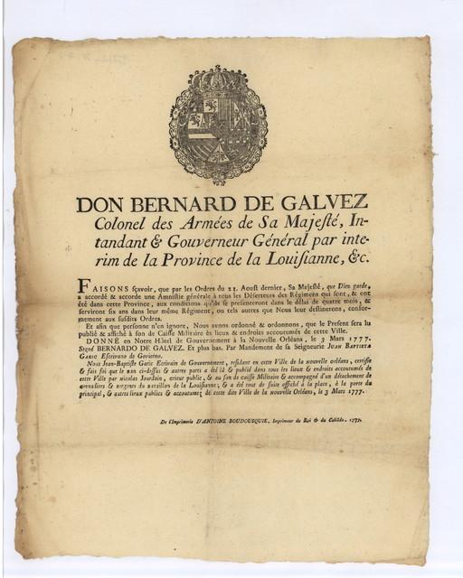 Don Bernard de Gálvez colonel des armées de Sa Majesté, intandant & gouverneur général par interim de la province de la Louisianne...