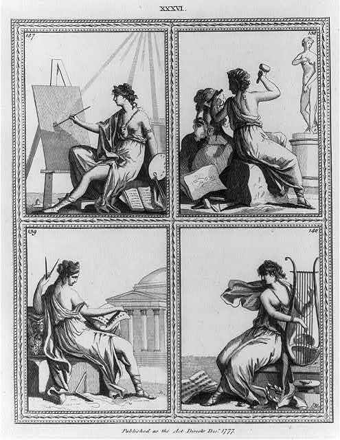 [Emblematical female figures engaged in the arts of painting, sculpture, architecture, and music]
