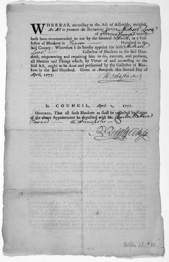 Four sections of an Act of the General Assembly of the State of Maryland, entitled, An act to promote the recruiting service. [Baltimore: Printed by Mary K. Goddard, 1777]