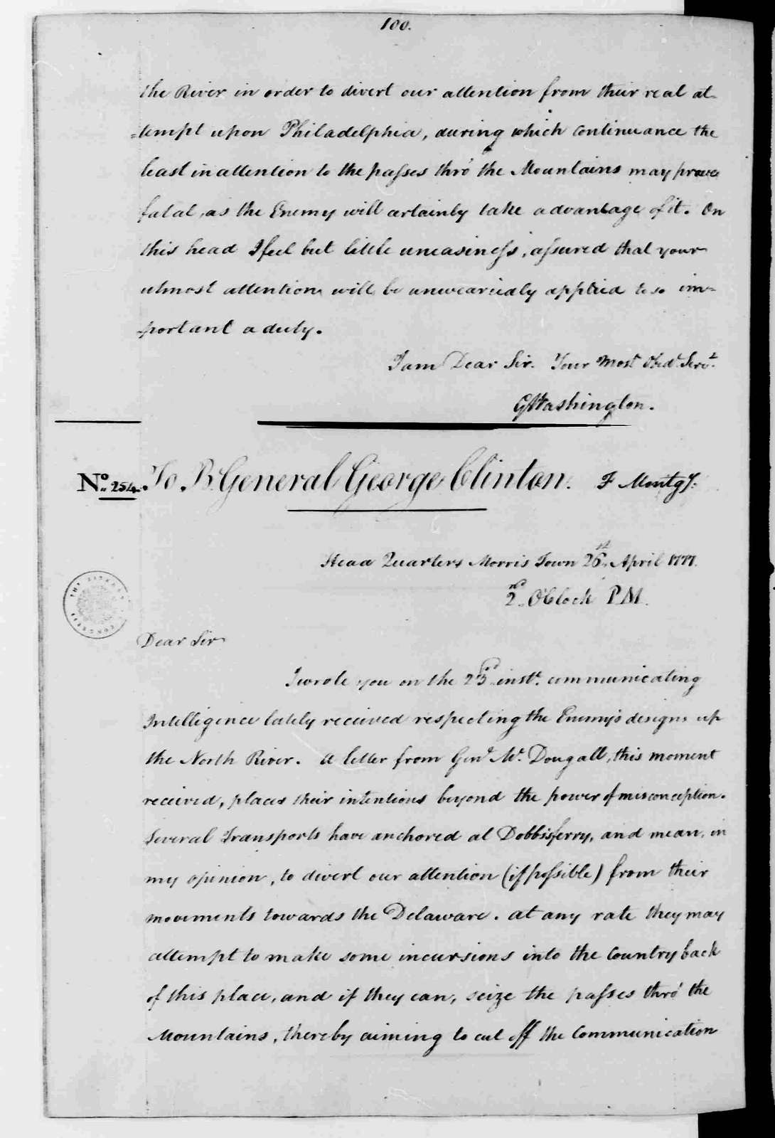 George Washington Papers, Series 3, Varick Transcripts, 1775-1785, Subseries 3B, Continental and State Military Personnel, 1775-1783, Letterbook 3: March 30, 1777 - July 31, 1777