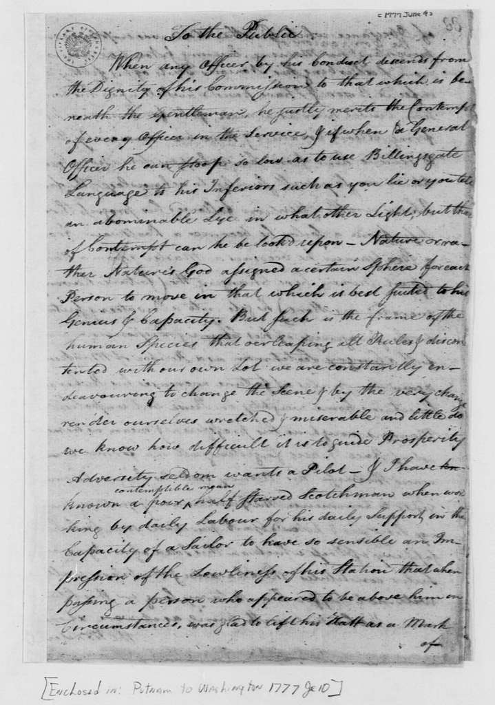 """George Washington Papers, Series 4, General Correspondence: """"A Letter Supposed to be Written by"""" Henry B. Livingston, June 9, 1777, Address on Military Etiquette"""