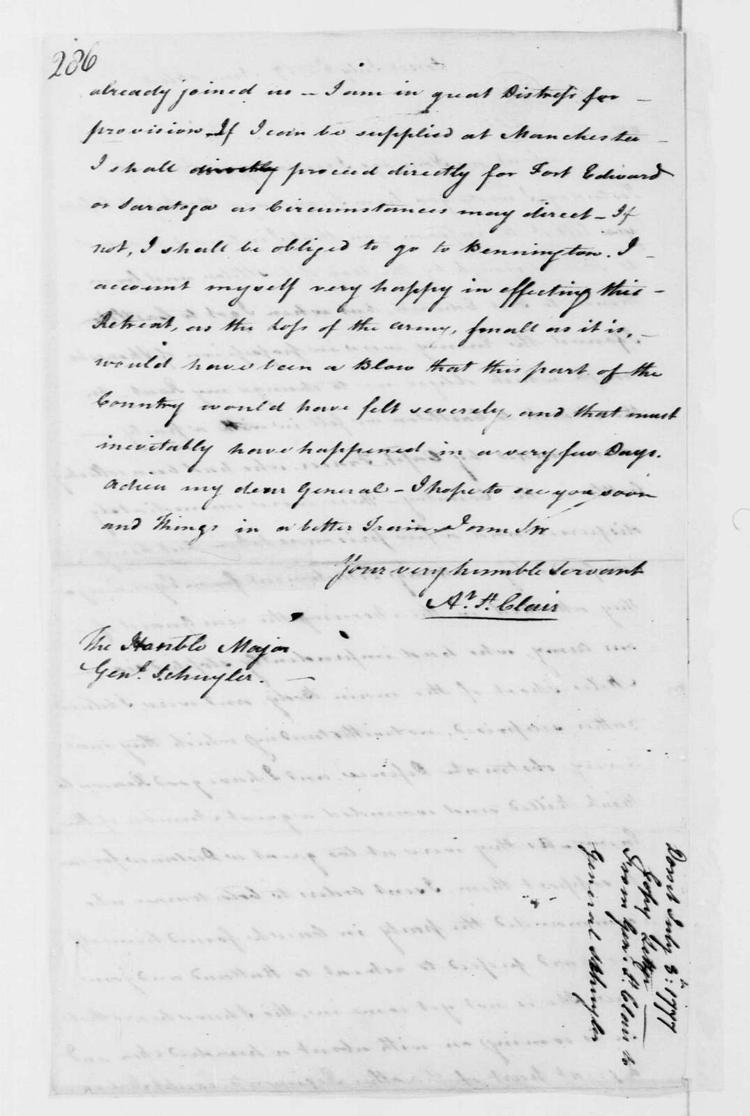 George Washington Papers, Series 4, General Correspondence: Arthur St. Clair to Philip J. Schuyler, July 8, 1777