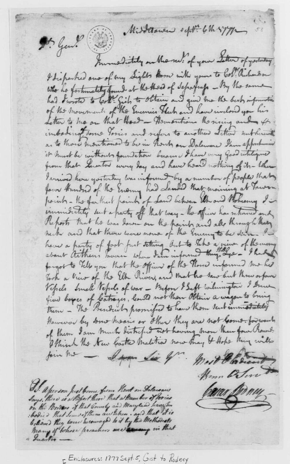 George Washington Papers, Series 4, General Correspondence: Caesar Rodney to George Washington, September 6, 1777