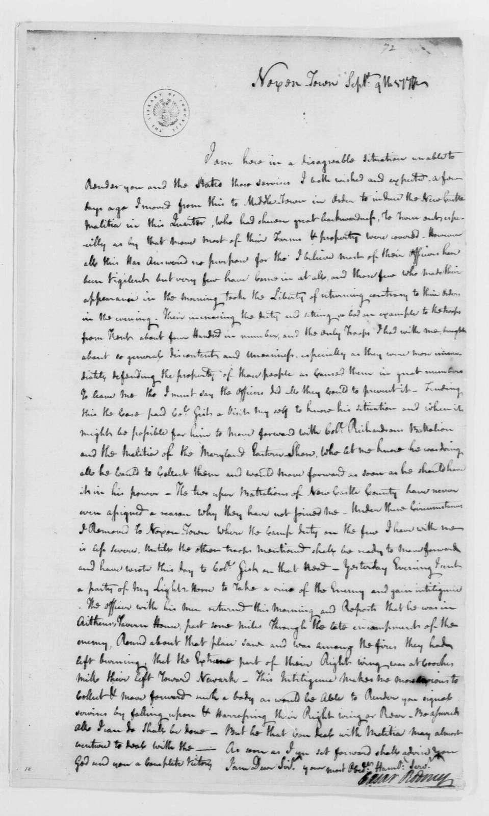 George Washington Papers, Series 4, General Correspondence: Caesar Rodney to George Washington, September 9, 1777