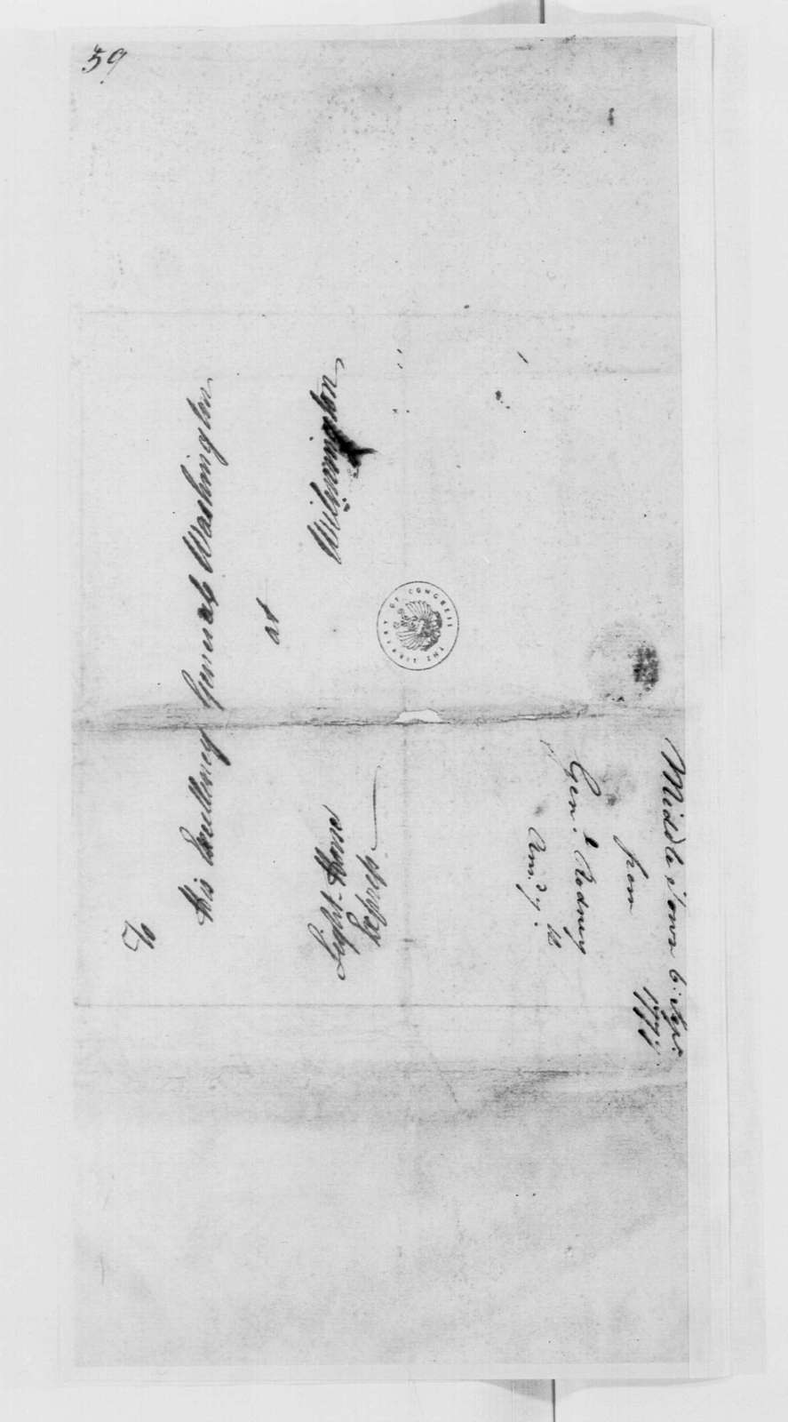 George Washington Papers, Series 4, General Correspondence: Caesar Rodney to George Washington, September 6, 1777