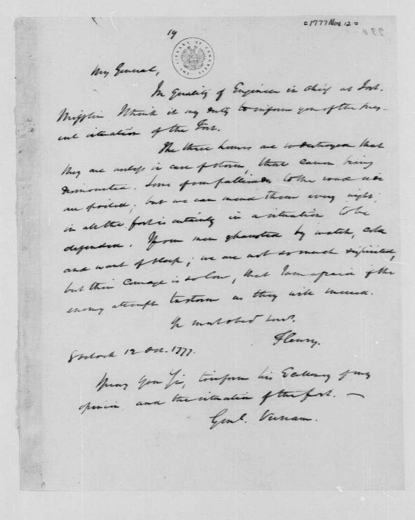 George Washington Papers, Series 4, General Correspondence: Francois Louis Teisseydre, Marquis de Fleury to James M. Varnum, November 12, 1777