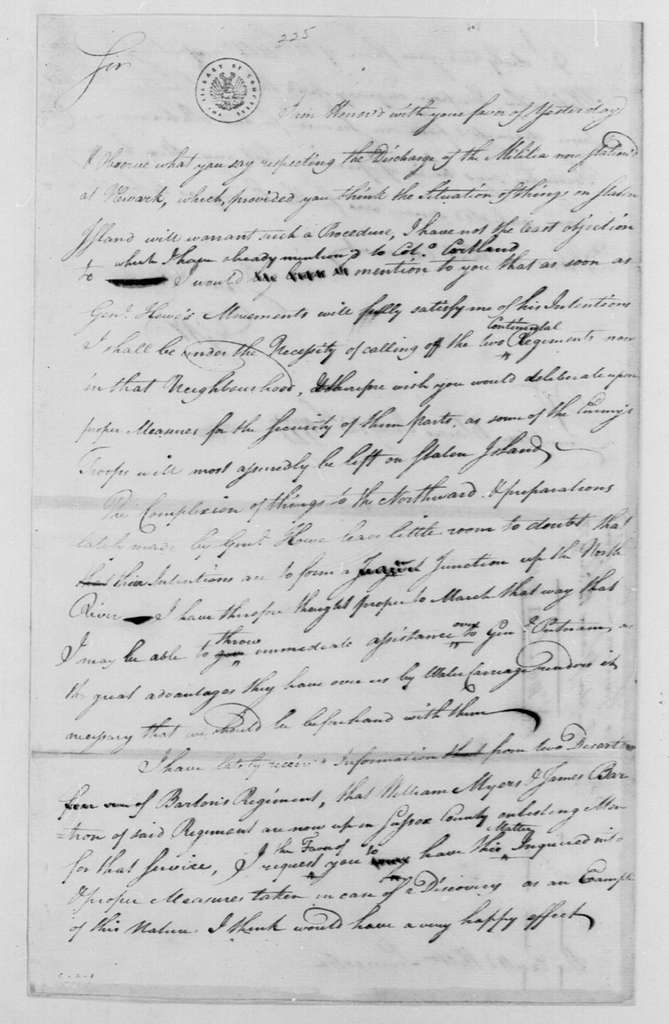 George Washington Papers, Series 4, General Correspondence: George Washington to William Livingston, July 12, 1777