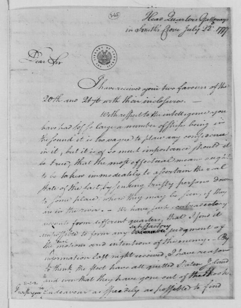 George Washington Papers, Series 4, General Correspondence: George Washington to Israel Putnam, July 22, 1777, two same date