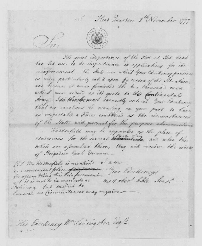 George Washington Papers, Series 4, General Correspondence: George Washington to William Livingston, November 8, 1777