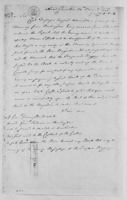 George Washington Papers, Series 4, General Correspondence: George Washington to Nathanael Greene, November 28, 1777