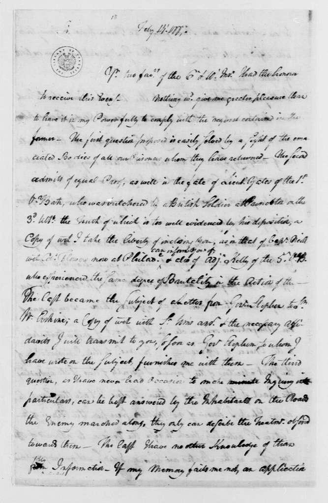 George Washington Papers, Series 4, General Correspondence: George Washington to William Livingston, February 14, 1777