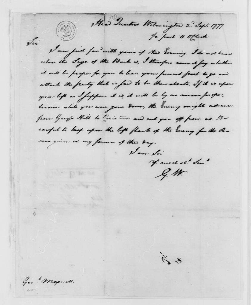 George Washington Papers, Series 4, General Correspondence: George Washington to William Maxwell, September 2, 1777, two same date