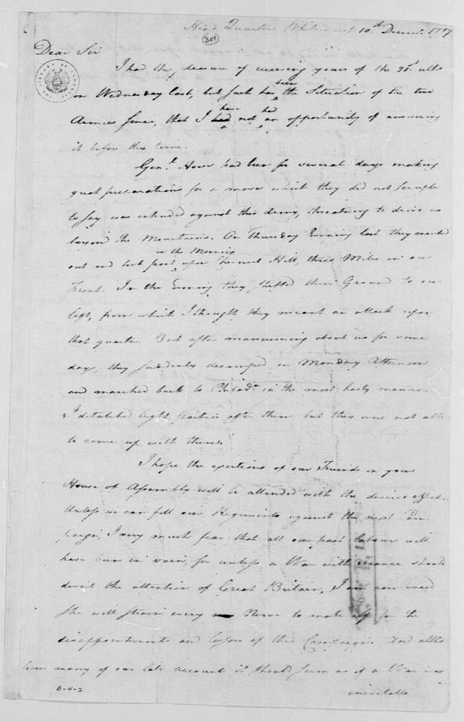 George Washington Papers, Series 4, General Correspondence: George Washington to Thomas Nelson Jr., December 10, 1777