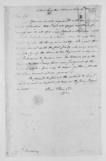 George Washington Papers, Series 4, General Correspondence: George Washington to George Weedon, March 8, 1777