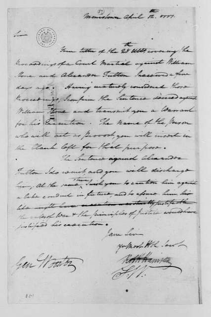 George Washington Papers, Series 4, General Correspondence: George Washington to David Wooster, April 12, 1777