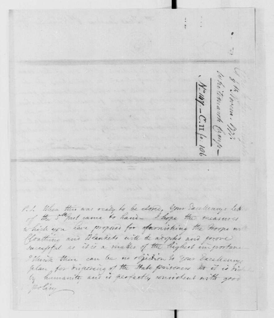 George Washington Papers, Series 4, General Correspondence: George Washington to William Livingston, November 8, 1777