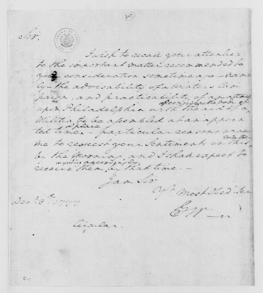 George Washington Papers, Series 4, General Correspondence: George Washington to Continental Army General Officers, December 3, 1777, Circular Letter