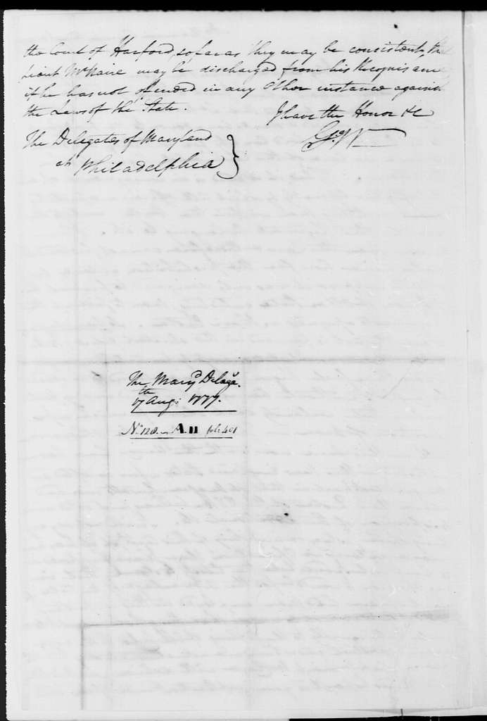 George Washington Papers, Series 4, General Correspondence: George Washington to Maryland Delegates in Congress, August 17, 1777
